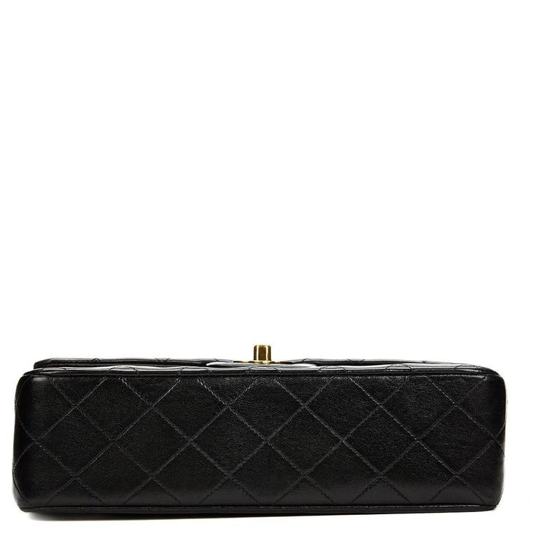 Chanel Black Quilted Lambskin Vintage Small Classic Double Flap Bag 1990s   3