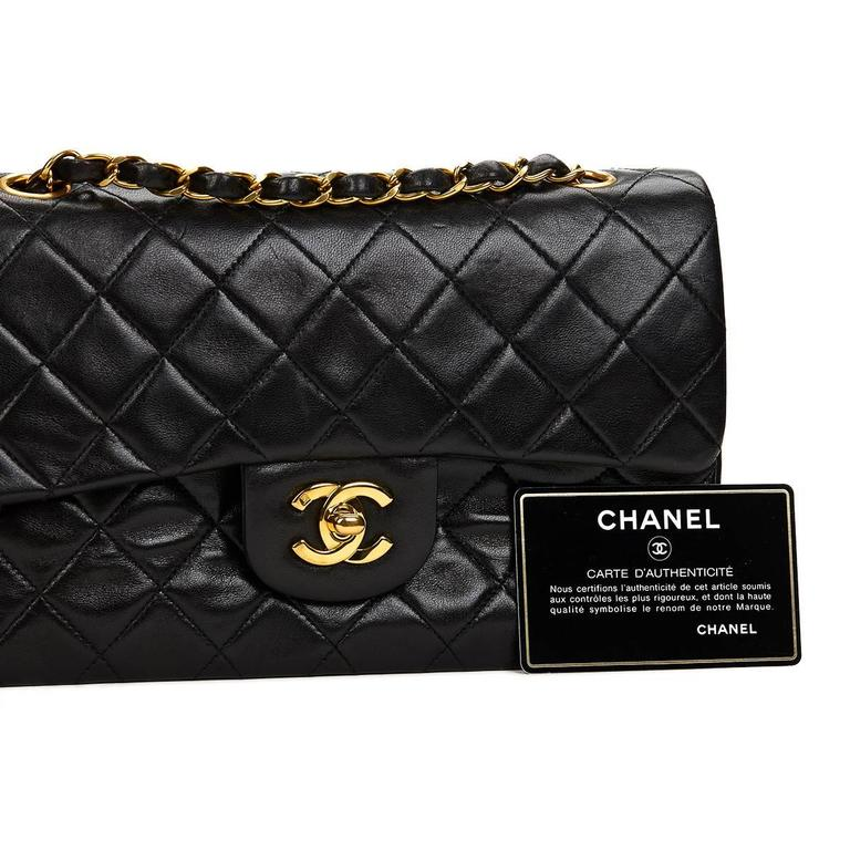 Chanel Black Quilted Lambskin Vintage Small Classic Double Flap Bag 1990s   10