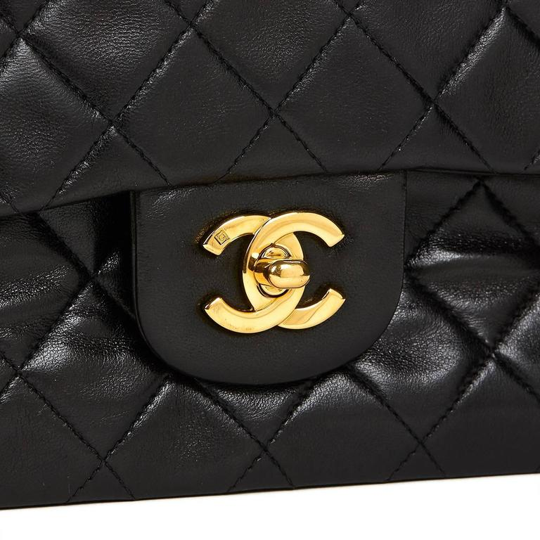 Chanel Black Quilted Lambskin Vintage Small Classic Double Flap Bag 1990s   7