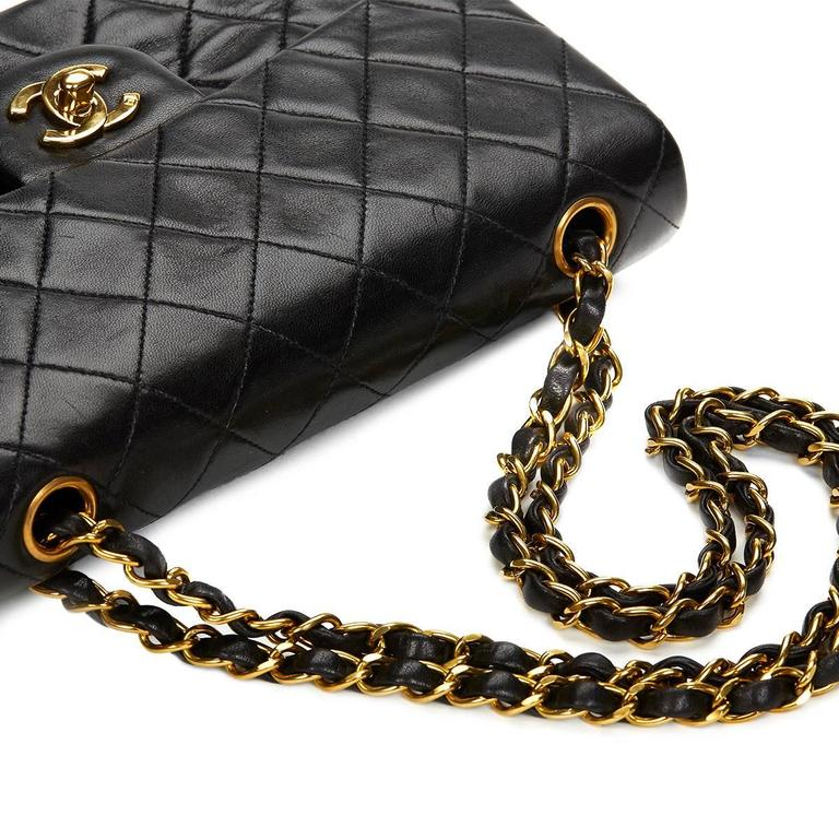 Chanel Black Quilted Lambskin Vintage Small Classic Double Flap Bag 1990s   9