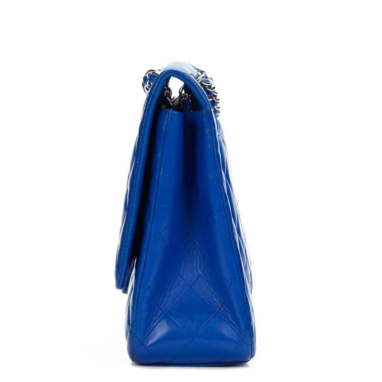 2000s Chanel Electric Blue Maxi Classic Single Flap Bag 2