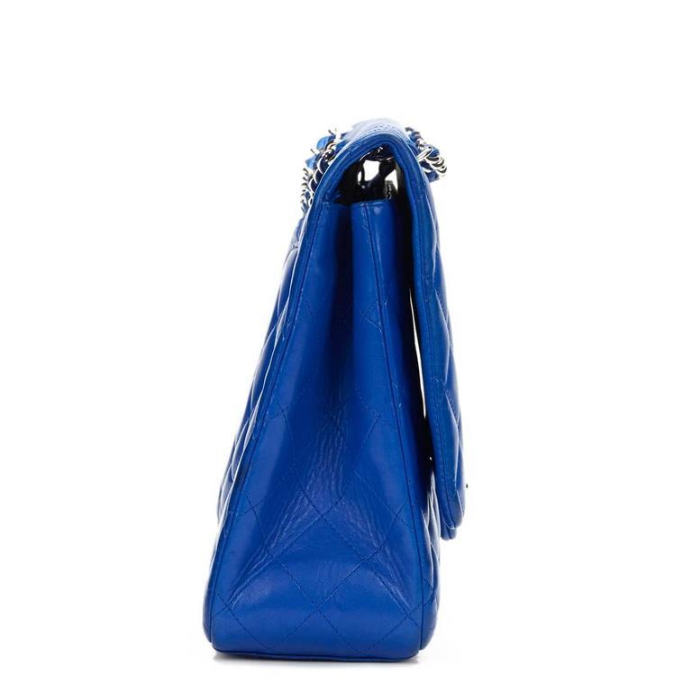 2000s Chanel Electric Blue Maxi Classic Single Flap Bag 3