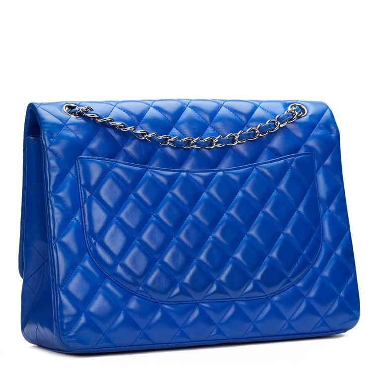 2000s Chanel Electric Blue Maxi Classic Single Flap Bag 4