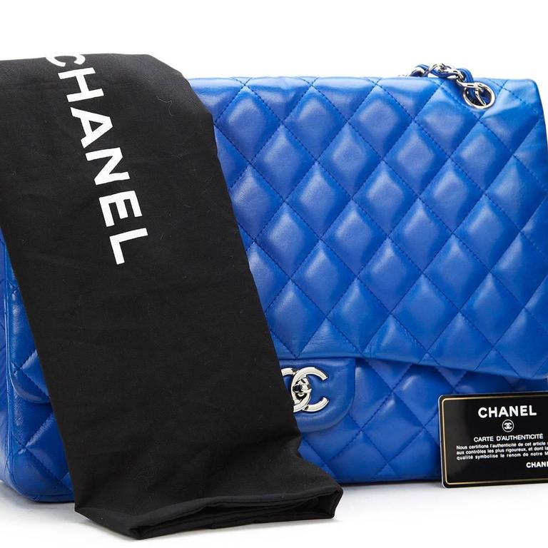 2000s Chanel Electric Blue Maxi Classic Single Flap Bag 10