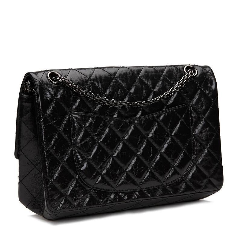 9b88001c98e2 2010s Chanel Black Glazed Calfskin So Black 2.55 Reissue 226 Double Flap Bag  For Sale 3