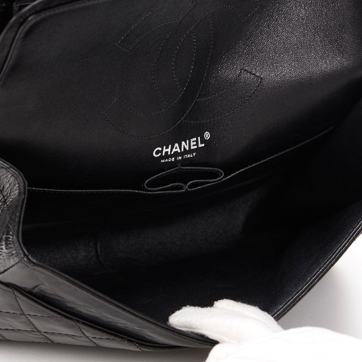 52e5f329e6e6 2010s Chanel Black Glazed Calfskin So Black 2.55 Reissue 226 Double Flap Bag  at 1stdibs