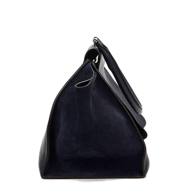 2010s Celine Navy Drummed Calfskin and Suede Large Trapeze 2