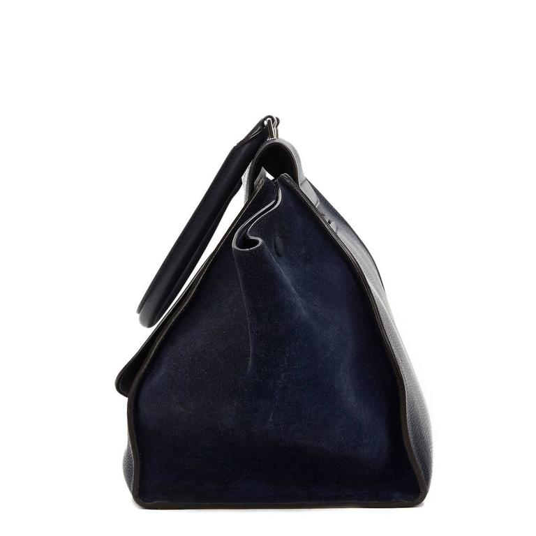 2010s Celine Navy Drummed Calfskin and Suede Large Trapeze 3