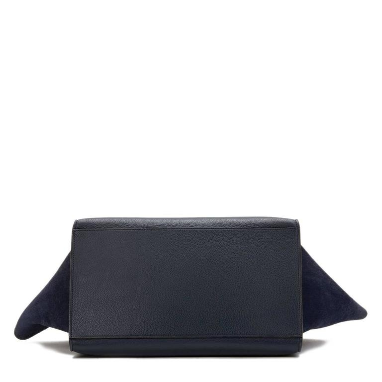 2010s Celine Navy Drummed Calfskin and Suede Large Trapeze 4