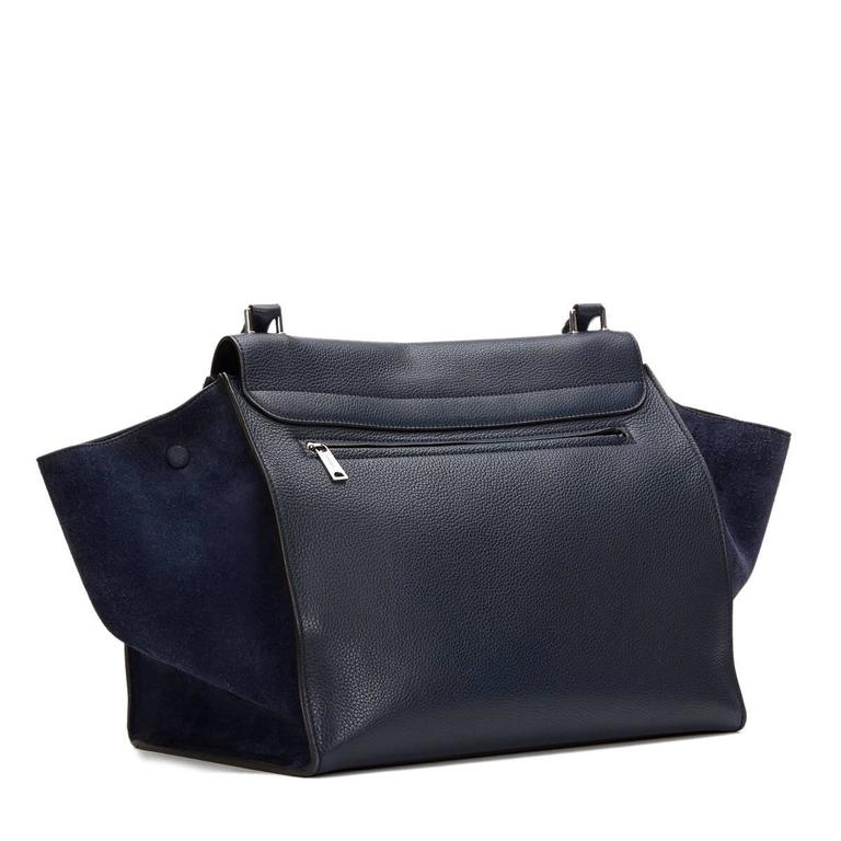 2010s Celine Navy Drummed Calfskin and Suede Large Trapeze 5