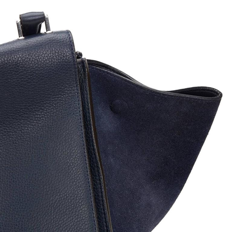 2010s Celine Navy Drummed Calfskin and Suede Large Trapeze 7