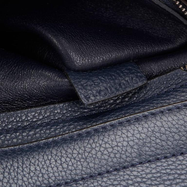 2010s Celine Navy Drummed Calfskin and Suede Large Trapeze 8