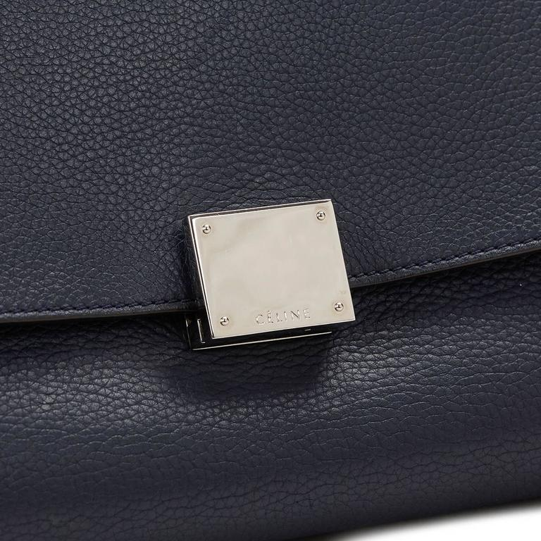 2010s Celine Navy Drummed Calfskin and Suede Large Trapeze 9