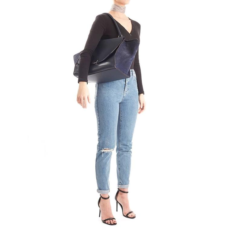2010s Celine Navy Drummed Calfskin and Suede Large Trapeze 10
