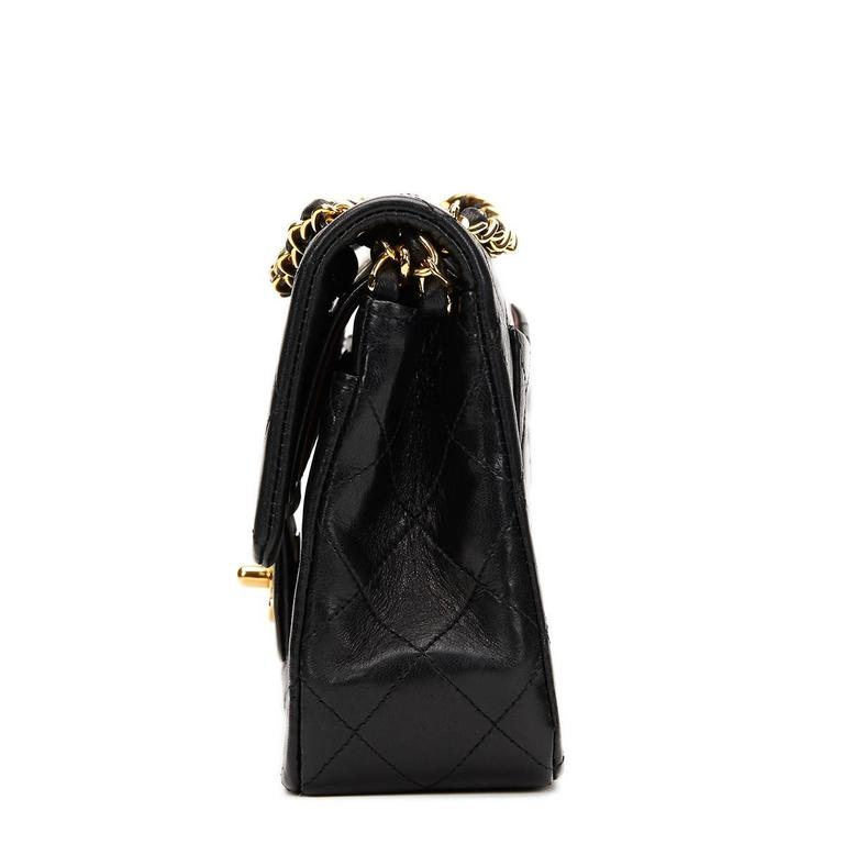 1990s Chanel Black Quilted Lambskin Vintage Small Classic Double Flap Bag 2
