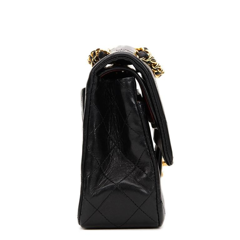 1990s Chanel Black Quilted Lambskin Vintage Small Classic Double Flap Bag 3