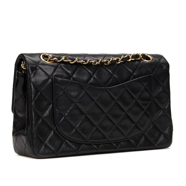 1990s Chanel Black Quilted Lambskin Vintage Small Classic Double Flap Bag 5