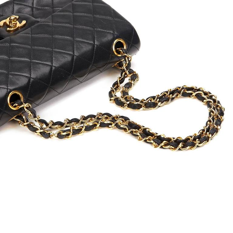 1990s Chanel Black Quilted Lambskin Vintage Small Classic Double Flap Bag 8