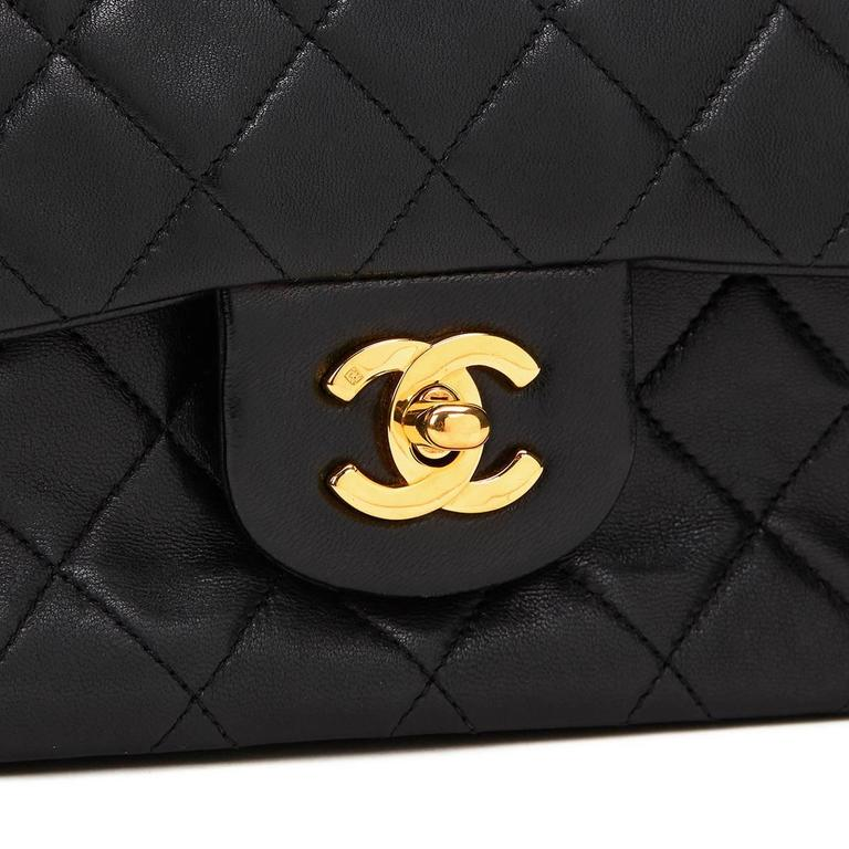 1990s Chanel Black Quilted Lambskin Vintage Small Classic Double Flap Bag 7