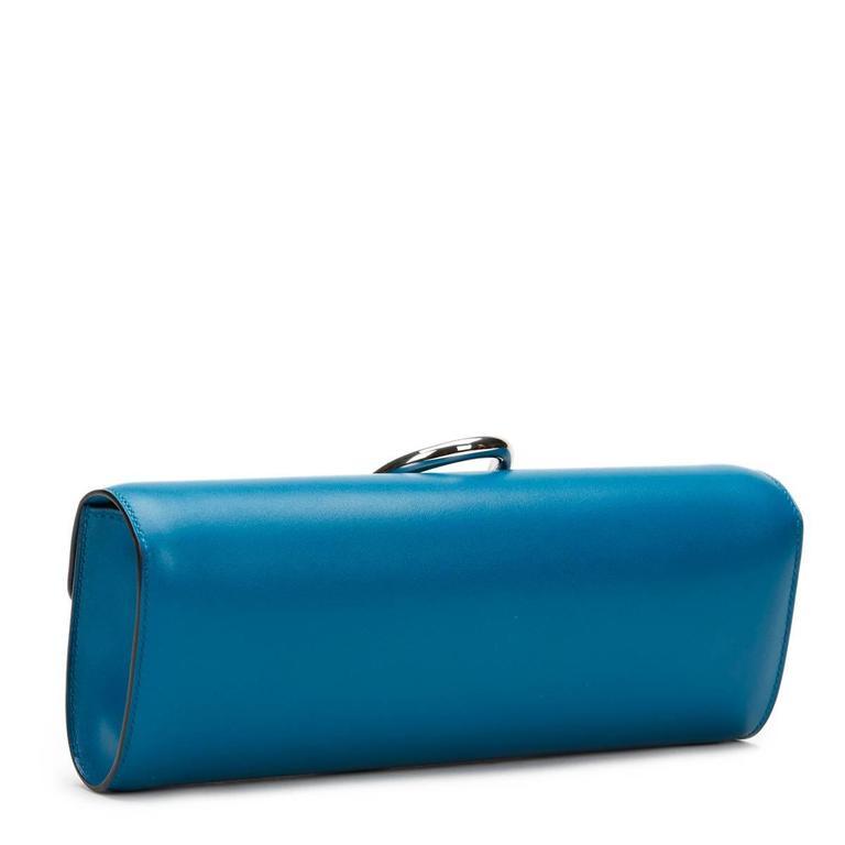 2015 Hermes Blue Izmir Tadelakt Leather Egee Clutch 2