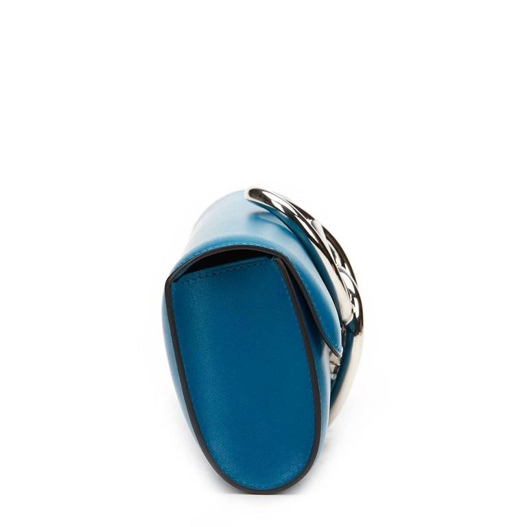 2015 Hermes Blue Izmir Tadelakt Leather Egee Clutch 4