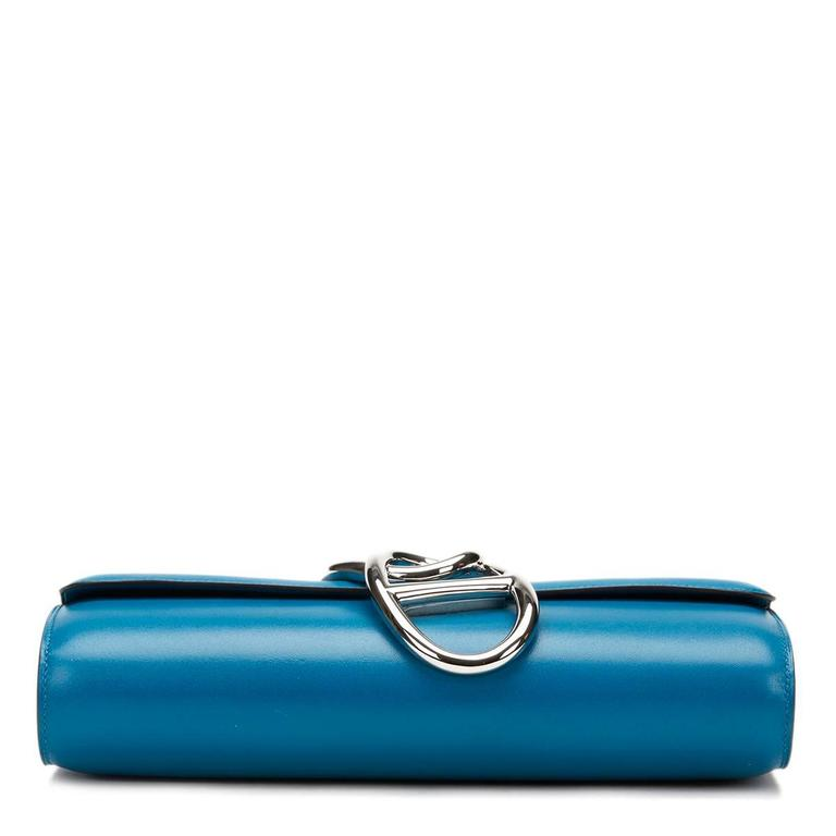 2015 Hermes Blue Izmir Tadelakt Leather Egee Clutch 5