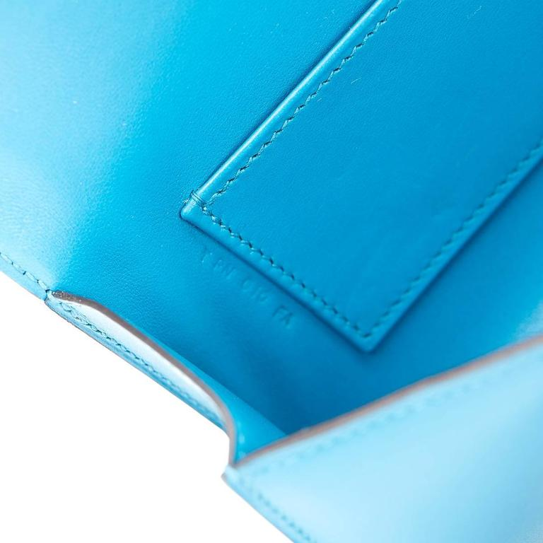 2015 Hermes Blue Izmir Tadelakt Leather Egee Clutch 7
