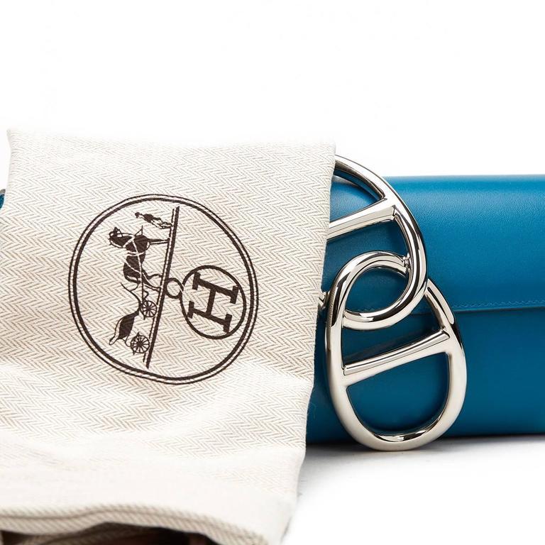 2015 Hermes Blue Izmir Tadelakt Leather Egee Clutch 9