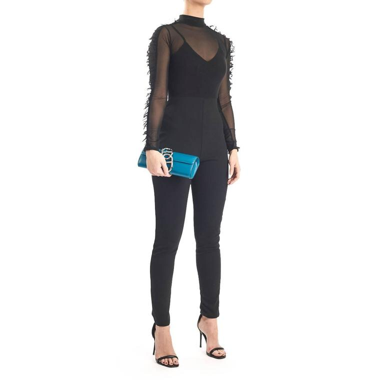 2015 Hermes Blue Izmir Tadelakt Leather Egee Clutch 10