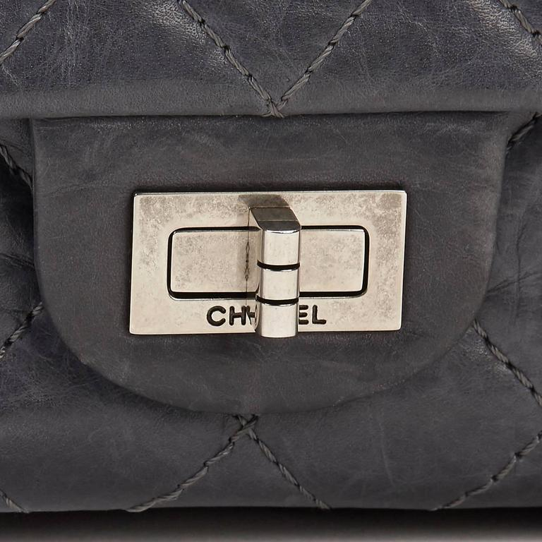 8a005439185768 2000s Chanel Grey Quilted Calfskin 50th Anniversary 2.55 Reissue 226 Double  Flap For Sale 3