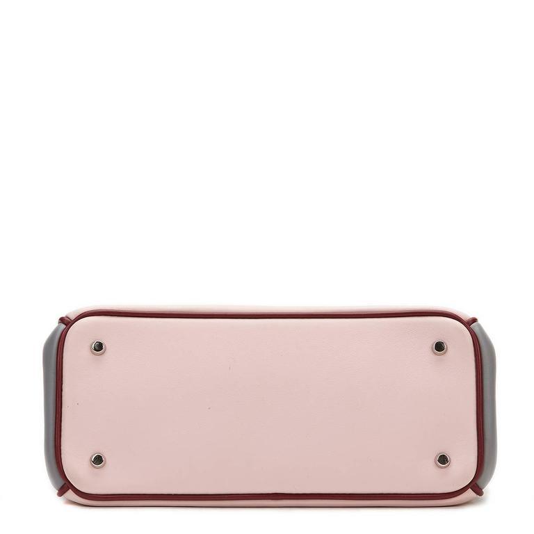 2014 Christian Dior Pink, Grey & Burgundy Calfskin Mini Diorissimo 4