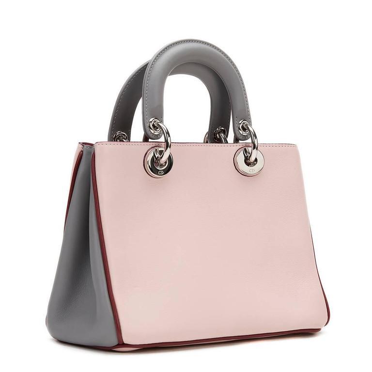 Women's 2014 Christian Dior Pink, Grey & Burgundy Calfskin Mini Diorissimo For Sale