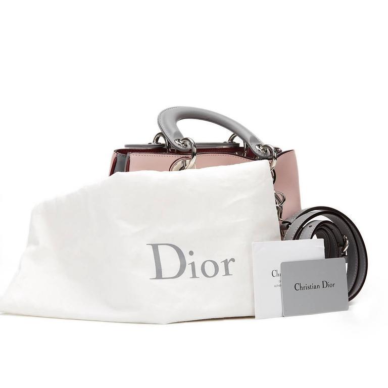 2014 Christian Dior Pink, Grey & Burgundy Calfskin Mini Diorissimo 9