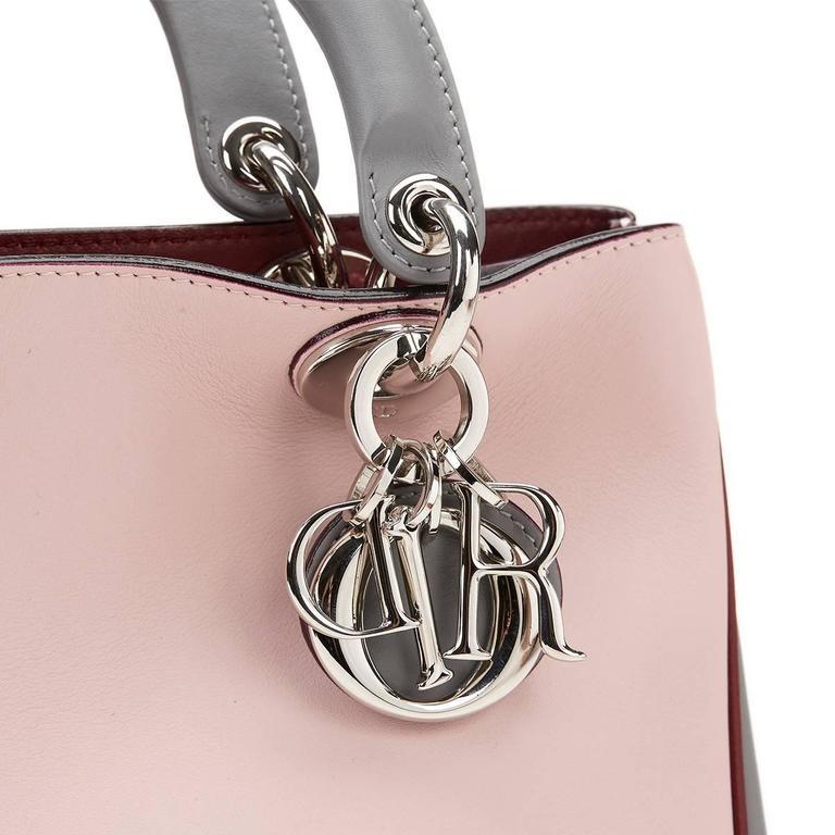 2014 Christian Dior Pink, Grey & Burgundy Calfskin Mini Diorissimo For Sale 2