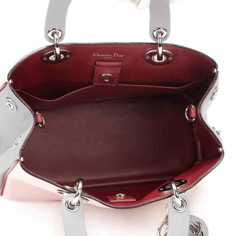 2014 Christian Dior Pink, Grey & Burgundy Calfskin Mini Diorissimo 8