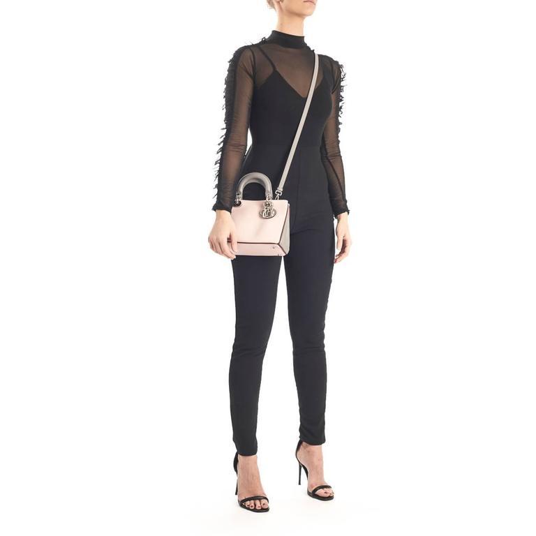 2014 Christian Dior Pink, Grey & Burgundy Calfskin Mini Diorissimo For Sale 5