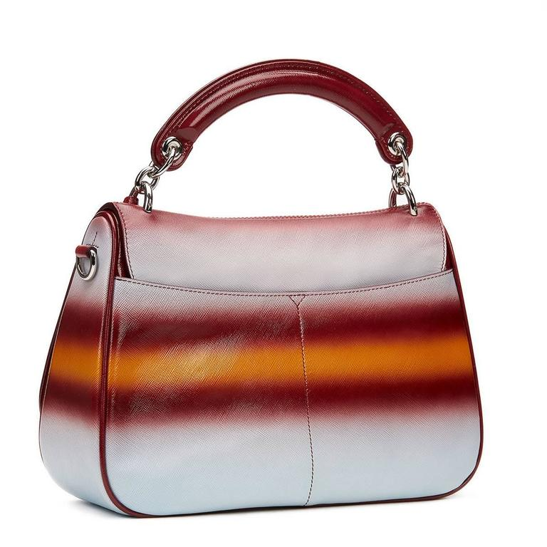 2010s Christian Dior Maroon, Mustard & Blue Gradient Grained Calfskin Dune Bag For Sale 2