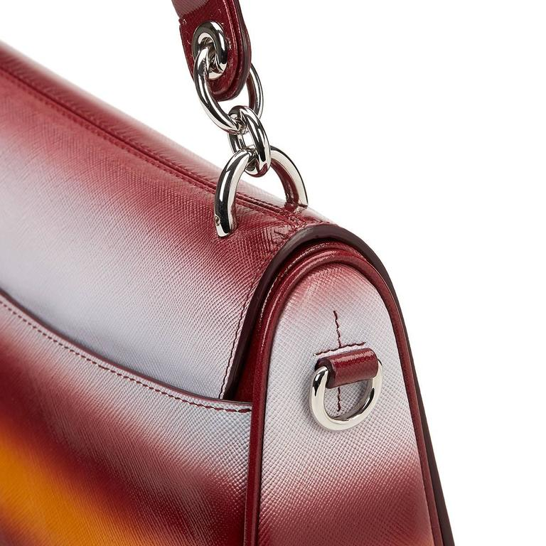 2010s Christian Dior Maroon, Mustard & Blue Gradient Grained Calfskin Dune Bag For Sale 3