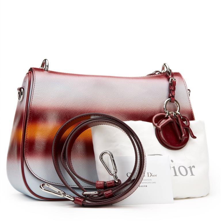 2010s Christian Dior Maroon, Mustard & Blue Gradient Grained Calfskin Dune Bag For Sale 5