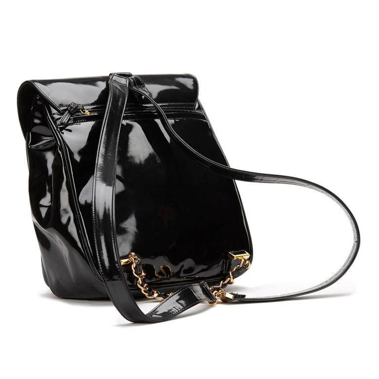 1990s Chanel Black Patent Leather Vintage Timeless Backpack For Sale 1