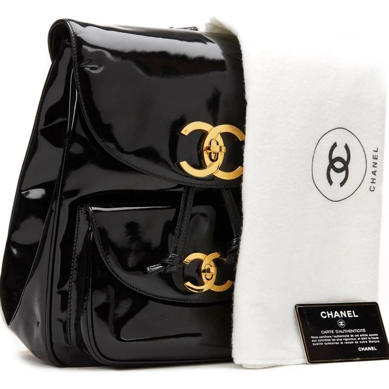 1990s Chanel Black Patent Leather Vintage Timeless Backpack For Sale 6
