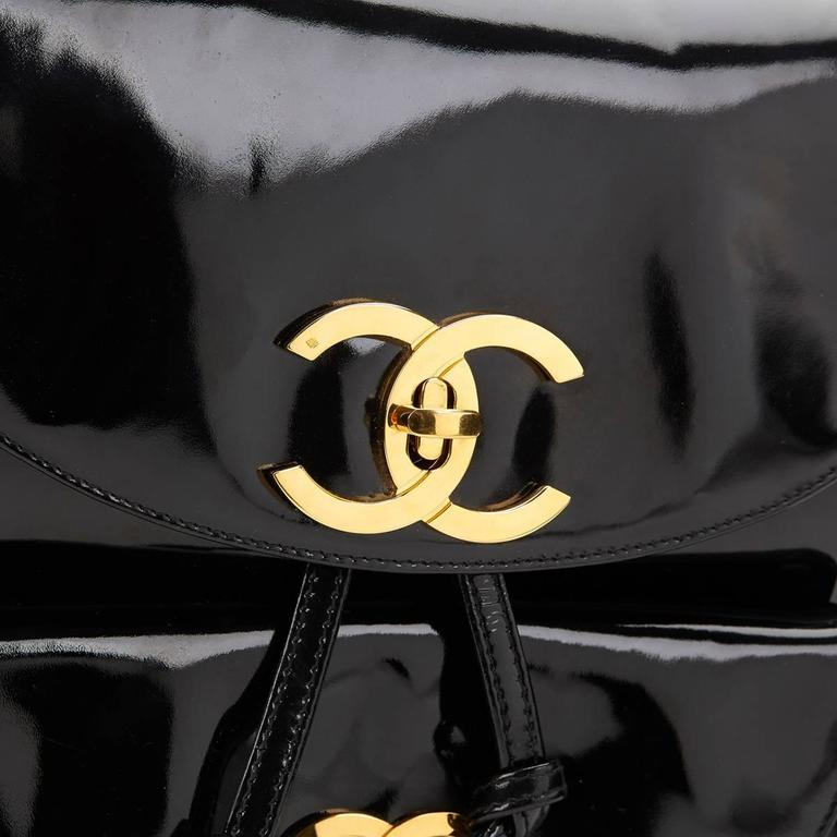 1990s Chanel Black Patent Leather Vintage Timeless Backpack For Sale 4