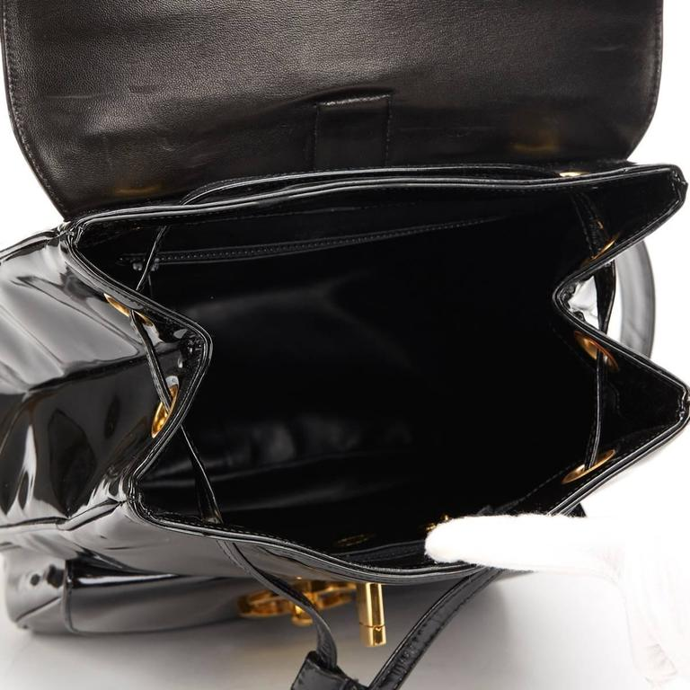 1990s Chanel Black Patent Leather Vintage Timeless Backpack For Sale 3