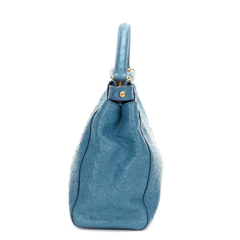 2000's Fendi Blue Ostrich Leather Small Peekaboo In Excellent Condition For Sale In Bishop's Stortford, Hertfordshire
