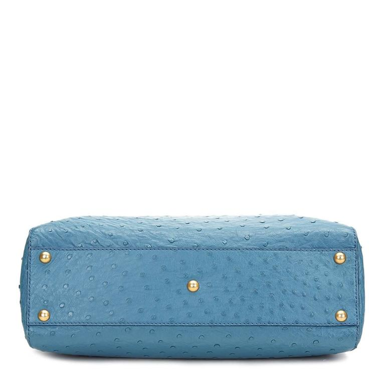 2000's Fendi Blue Ostrich Leather Small Peekaboo For Sale 3