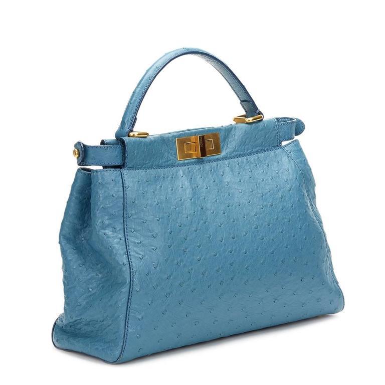 Women's 2000's Fendi Blue Ostrich Leather Small Peekaboo For Sale