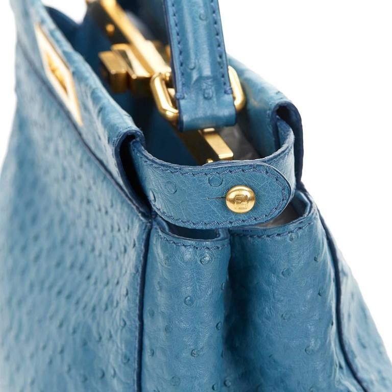 2000's Fendi Blue Ostrich Leather Small Peekaboo For Sale 1