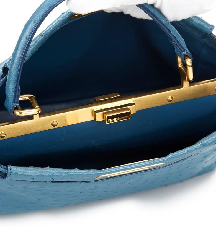 2000's Fendi Blue Ostrich Leather Small Peekaboo For Sale 2