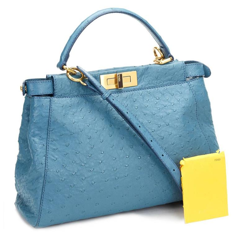 2000's Fendi Blue Ostrich Leather Small Peekaboo For Sale 6