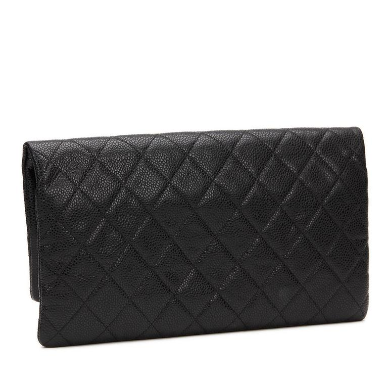 9c5b5d194a6a 2010s Chanel Black Quilted Caviar Leather Beauty CC Foldover Clutch For Sale  1